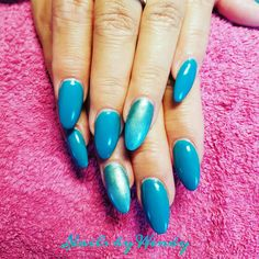 Gelpolish  oceaan blue met magic pigments malachite en green ombre!