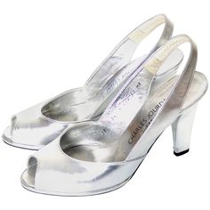 Charles Jourdan Silver Metallic Peep Toe Vintage Shoes France Size 7.5 B | From a collection of rare vintage shoes at https://www.1stdibs.com/fashion/accessories/shoes/