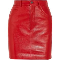 Vetements Leather mini skirt ($2,140) ❤ liked on Polyvore featuring skirts, mini skirts, vetements, red, genuine leather skirt, red skirt, short skirts, real leather skirt and long skirts