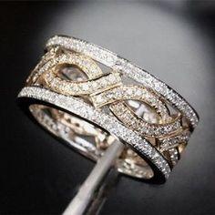 Vtg White Topaz 925 Silver Fashion Jewelry Engagement Wedding Band Ring Size6-10
