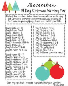 31 Day Scripture Writing Plan for December and the Christmas Season