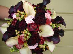dramatic bridal bouquet texture deep red white berries, purple wedding flowers, deep blue wedding flowers, purple bouquet, plum wedding