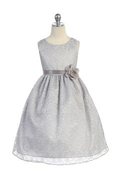 Silver Floral Lace Flower Girl Dress | girlsdressline.com
