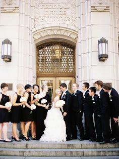 Elegant Ivory & Gold Seattle Wedding from Mastin Studio - black bridesmaid dresses