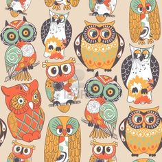 Find Seamless Owl Pattern stock images in HD and millions of other royalty-free stock photos, illustrations and vectors in the Shutterstock collection. Thousands of new, high-quality pictures added every day. Owl Doodle, Doodle Art, Doodle Ideas, Owl Patterns, Color Patterns, Pattern Art, Owl Always Love You, Owl Print, Owl Bird