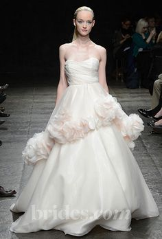 Brides.com: Fall 2013 Wedding Dress Trends. Trend: Blush Wedding Dresses. Gown by Hayley Paige  See more Hayley Paige wedding dresses in our gallery.