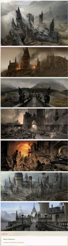 Battle of Hogwarts concept art by Andrew Williamson