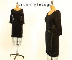 40s Knit Ribbon Dress XS S / 1940s Vintage Black by CrushVintage