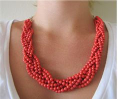 Quick Coral Statement Necklace- A cute, thrifty DIY necklace to make.