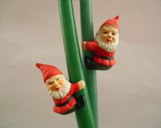 Vintage candle climbers Set of 5 Red pixie candle decoration Holiday table decor Scandinavian Christmas