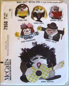 McCalls 7958 3 inch Stuffed Doll Pattern 1960s 6 Cool Characters Beatnik Rocker etc. with Transfers