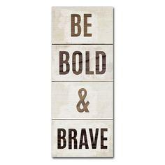 "Trademark Fine Art ""Be Bold & Brave"" Canvas Wall Art by Michael Mullan, Multicolor"