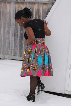 African skirt Knee length skirt high Waist large by Khokhodesigns, $80.00
