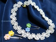 Tatted Lace Necklace with beads and Crochet Lace Daisy Hair Pin with beads