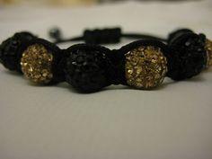 Gold and Black Crystal Pave Bead Macrame by JadedJewelsUK on Etsy, £10.00