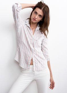 Pinstripe Blouse by Velvet at Lex & Lynne! Shop now #chic #stripes #blouse #ootd #fashion