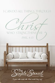 Professional Design - 1000's of bible verses to choose from or design your own favorite bible verse in our easy to use Design Center! High Quality Materials - Using Oracal 631 Vinyl Materials made exclusively for wall decor to avoid damage to underlying surfaces and providing beautiful matte colors that look painted on. Easy to Install -Orders include detailed instructions, professional application tool and practice word! Satisfaction Guaranteed. #bibleverse #scripture #churchdecor #christ Christian Decor, Christian Life, Large Wall Decals, Stencil Vinyl, Bible Verse Art, Church Design, Inspirational Wall Art, Wall Art Quotes, Christian Inspiration