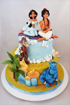 Carmen Iordache added 3 new photos to the album: Aladdin — with Gabriel Teodorescu and Anda Marinescu. Jasmine Birthday Cake, Jasmine Cake, Disney Themed Cakes, Disney Cakes, Crazy Cakes, Fancy Cakes, Aladdin Cake, Disney Cake Toppers, Character Cakes
