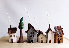 Miniature felt houses with tree Home decor. Textil art. by Intres