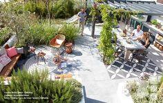 Terrasse / Volker design via Lejardindeclaire Back Gardens, Small Gardens, Outdoor Gardens, Terrace Tiles, Rooftop Garden, Outdoor Rooms, Outdoor Living, Outdoor Entertaining, Garden Planning
