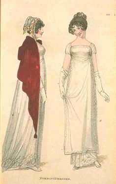 Fashions of London and Paris, Evening Dress, December 1809. I love the subtle decorations on these gowns.