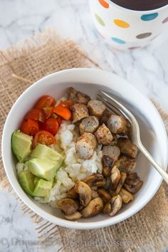 Breakfast Bowls with Chicken Sausage and Egg Whites – a super healthy, hearty breakfast with egg whites, sauteed mushrooms, diced tomatoes, and chicken sausage.   My parents get here today!! This is g