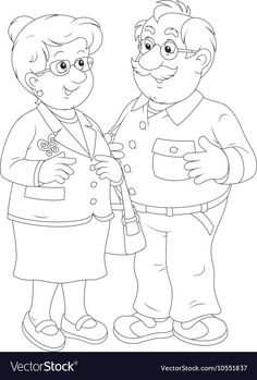 Grandmother and grandfather vector image on VectorStock Cute Coloring Pages, Colouring Pics, Animal Coloring Pages, Adult Coloring, Halloween Party Activities, Grandparents Day Crafts, House Mouse Stamps, Logos Retro, Grands Parents