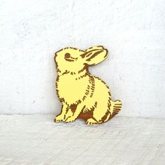 Hand Painted Bunny Rabbit Brooch  Laser Cut  Yellow by EachToOwn, $19.00