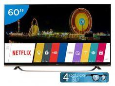 "Smart TV LED 60"" LG 4k/Ultra HD Full HD 3D UF8500 - WebOS Conversor Digital Óculos Wi-Fi 3 HDMI 3 USB"