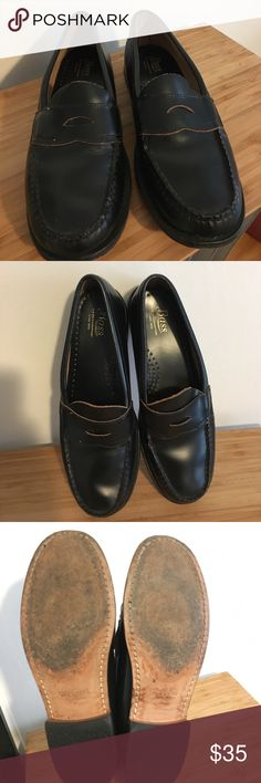 Bass Loafers, 8.5M Women's Bass Waylon Loafers in 8.5 M. Rubber heel and leather sole. Full grain leather shoe. Amazing condition because they were two big for me and I wore them maybe three times with thick socks. Heel is .75 inches. Bass Shoes Flats & Loafers