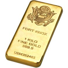 """Gold-Plated Fort Knox Bar Replica -  They'll be amazed when you give this 8 oz. Fort Knox """"gold bar"""" replica paperweight - $44.95 www.littletoncoin.com"""