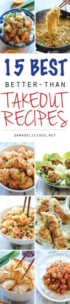 15 Best Better-Than Takeout Recipes from Damn Delicious - The best, budget-friendly takeout recipes you can easily make right at home. So easy, these dishes are practically fool-proof! I Love Food, Good Food, Yummy Food, Tasty, Restaurant Recipes, Dinner Recipes, Asian Recipes, Healthy Recipes, Easy Chinese Food Recipes