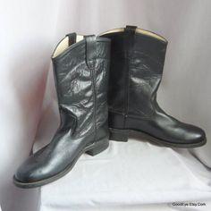 d7b1d49d0589 Vintage OLD WEST Roper Boots Cowboy   All Leather Ladies Size 8 .5 9 Eur 39  UK 6   Western Ankle b