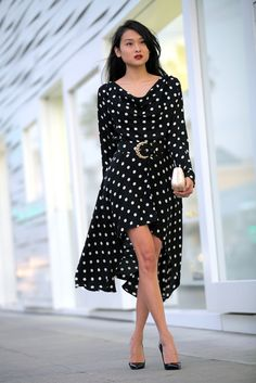 Date Night! :: Vintage polka dot high low dress and Christian Louboutin Pigalle pumps