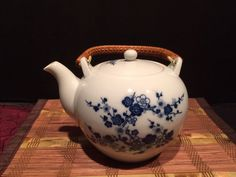 "Asian Porcelain Teapot Cherry Blossom Design Bamboo Handle 8""x7"" #Unbranded"