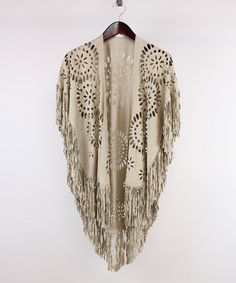 Look at this #zulilyfind! Beige Laser-Cut Geometric Fringe Ruana #zulilyfinds