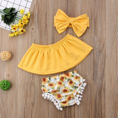 Buy Baby Girl Crop Top Off Shoulder+Sunflower Shorts Pants Summer Clothes at Wish - Shopping Made Fun Baby Outfits, Tomboy Outfits, Kids Outfits, Summer Outfits, Summer Clothes, Baby Girl Fashion, Fashion Kids, Cute Baby Girl, Cute Babies