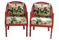 Faux-Bamboo Club Chairs, Pair