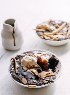 Not only rich, silky and totally moreish, we decided to gild the lily by topping these puddings with vanilla bean ice cream and a luxurious chocolate fudge sauce.