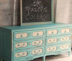 This two tone dresser was refinished with American Paint Company colors: Surfboard and Homeplate, by The Modern Cottage.