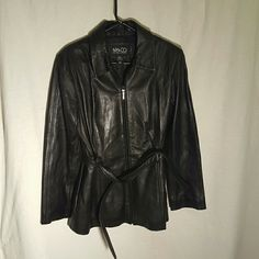 """Black Leather Jacket size L by NY & Co Black Leather Jacket size L by NY & Co in great used condition.  Waist: 19"""" Length: 28""""  Please let me know if you have questions. Happy Poshing!!! New York & Company Jackets & Coats"""