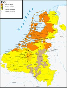The Dutch Revolt was the successful battle of the northern, largely Protestant Seven Provinces of the Low Countries against the rule of the Roman Catholic King Philip II of Spain, hereditary ruler of the provinces, map of 1579 Netherlands Map, Kingdom Of The Netherlands, Historical Maps, Historical Architecture, Utrecht, Holland Map, European Map, Old Maps, World History