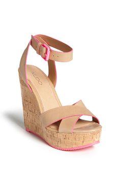 Wedge Sandal Nude/ Neon Pink