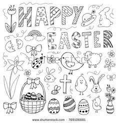 Hand drawn easter doodles set isolated on white background drawings bullet journal Image vectorielle de stock de Doodle d'automne 36412171 Doodle Bullet Journal, April Bullet Journal, Bullet Journal Writing, Bullet Journal Ideas Pages, Bullet Journal Inspiration, Easter Drawings, Doodle Drawings, Doodle Art, Autumn Doodles