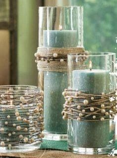 Twine and pearls-adorable. I'd be doing purple, so maybe purple crystals instead!