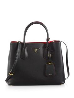 Prada - Saffiano Cuir Medium Double Bag - Saks.com