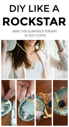 DIY jewelry that will make you feel like the most glam rockstar. Agate necklace. Chunky necklace.