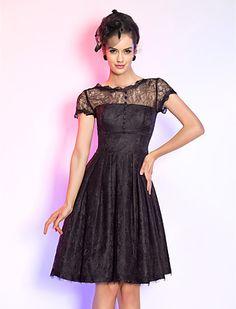 A-line Jewel Knee-length Lace Cocktail Dress (699500) - USD $ 69.99