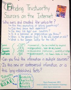 """Finding Trustworthy Sources on the Internet"" Anchor Chart - New Anchor Charts for a New Year! 