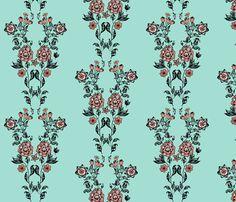 Bohemian-Damask_1 fabric by kfrogb on Spoonflower - custom fabric Coral, Mint, Black, White, Bohemian Damask